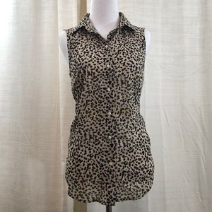 H&M Leopard Print Button Up Sleeveless Blouse